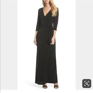 Goodtime Dresses - Black Maxi Faux Wrap Dress